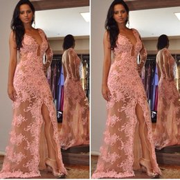 Voir À Travers Les Robes De Bal Avant Pas Cher-Sexy Split Mermaid Prom Robes See Through Lace Applique à manches longues Longueur au sol Tulle 2017 Women Formal Evening Gowns For Party