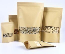 100 шт. лот крафт-бумага упаковка мешок молнии Ziplock встать мешок Doypack хранения продуктов питания упаковка мешок с прозрачным окном на Распродаже