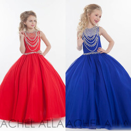 Barato Barato Meninas Vestidos Vermelhos-Sequins Red Little Girls Pageant Vestidos baratos 2016 Spring Rachel Allan Sheer Back Vestidos de baile Organza Long Kids Formal Wear Floor Length