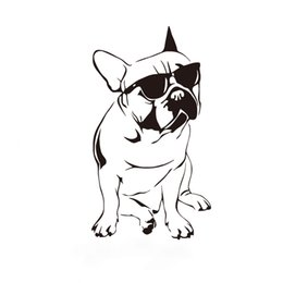 $enCountryForm.capitalKeyWord UK - Funny French Buldog Decals Kids Room Vinyl Wall Sticker Dog With Sunglasses Cute Bedroom Wall Paper Home Decor