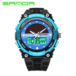 China 2019 New SANDA Solar Watches Women Waterproof Sports Casual Watch Solar Power Men's Wristwatches G Digital Quartz Shock Watch cheap quartz solar powered casual watches suppliers