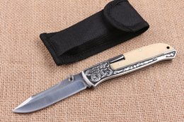Discount wholesale lock blade knife - Drop shipping EDC Pocket Folding Blade Knife 440C 58HRC Satin Finish Blade knife Outdoor Camping Hiking Rescue knives Lo
