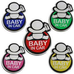 yellow car decals NZ - Lovely BABY IN CAR Car 3D Sticker Reflective Warning Decal Waterproof Window Vinyl Cover Blue Red Pink Green Yellow