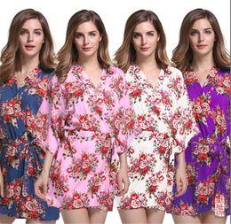 c27254ef8a 8 colors New Floral Women Wedding Bridal Kimono Robe Flower Cotton Lady Spa  Night Dress A055