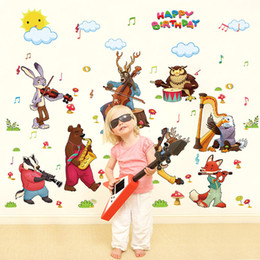 Wall Stickers Wolves Canada - Cartoon Animals Concert Wall Stickers for Kids Room Happy Birthday Wall Quote Decor Rabbit Bears Wolf Elk Owls The Animals Wall Mural Poster