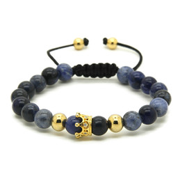 blue veins stone 2018 - 2016 High Grade Jewelry Wholesale 8mm Natural Blue Veins Stone Bead Brass Micro Pave Cubic Zirconia Crown Mens Bracelet
