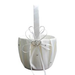 Cesta de la florista para la decoración de la boda Fiesta Ceremonia Festival DIY Bowknot Satin Basket Suministros de la boda