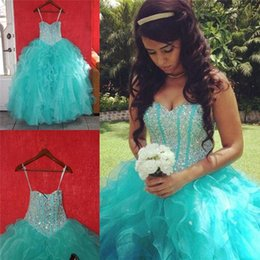 quinceanera dresses skirt 2019 - 2018 Blue Cascading Ruffles Skirt Quinceanera Dresses Ball Gown Sweetheart Princess Crystals Prom Dresses Sweet 16 Long
