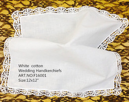"white handkerchiefs Canada - Set of 12 Fashion Ladies Handkerchief 12""x12""white Cotton Wedding Bridal Handkerchiefs Embroidered Lace Hankies Hanky For Bridal Gifts"
