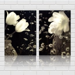 art canvas prints Australia - Unframed 2 Pieces art picture free shipping Canvas Prints White flowers Calla Lily coconut tree City Building tulips Lavender leaf