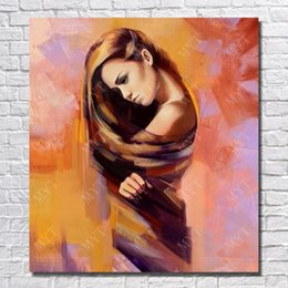 hand painted pictures Australia - Wall Picture for Home Decor Hand made Picture on Wall Abstract Girl Oil Painting on Canvas High Quality No Framed