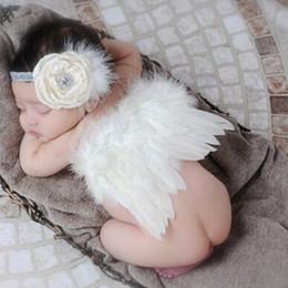 Новорожденный Детская одежда Девочка Мальчик бежевый перо Ангел крыло + цветок оголовье фотографии реквизит детская одежда высокое качество девушки платья