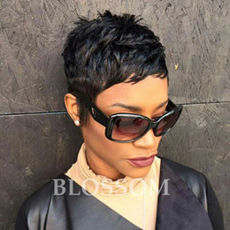Discount celebrity lace front human hair wigs - Cheap Human Short Hair Wigs Pixie Human Cut Hair Wigs Brazilian Hair Full Lace Front Short Celebrity Cheap Wigs for Blac