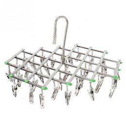 stainless underwear UK - Stainless Steel 35 Clips Folding Underwear Hanging Bra Sock Laundry Hanger Drying Clothes Rack Dryer Laundry Products