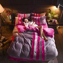 King Size Bedding Sets Orange Canada - 230g fleece bedding set winter soon warm sport design bed sheet fiited sheet supply queen size king size solid color 1890