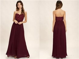 lace chiffon burgundy bridesmaid dress Australia - 2017 Burgundy Chiffon Boho Beach A Line Bridesmaid Dresses Strapless Sweetheart Floor Length Bridesmaid Gowns With Lace Formal Dresses