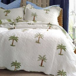 $enCountryForm.capitalKeyWord NZ - Pastoral Cotton Quilting quilts waterwashed Green Coconut Tree embroidery summer cool Bedspread BedCover Coverlet 3pcs sets Home Quilts sham