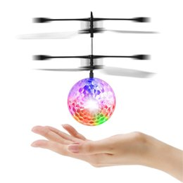 mini infrared helicopter Canada - Mini Flying RC Drone Helicopter Infrared Induction LED Remote Ball Mini Aircraft for Kids Teenagers Children