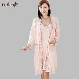 e3c11db793 Wholesale- Fdfklak Women Robe Gown Set Faux Silk Robe Femme Satin Sleepwear  Home Suit Night Sleep 2 Pieces Bathrobe Plus Size XL-XXL E0906