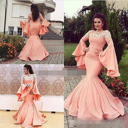 Barato Estilo Longo Da Sereia Dos Vestidos-2017 New Style Sweety Mermaid Prom Dresses Arábia Saudita Long Sleeve Vestidos de noite Sweep Train Jewel Formal Party Gowns Plus Size Cheap