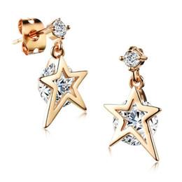 $enCountryForm.capitalKeyWord Canada - 1Pair Cubic Zirconia Drop Earrings For Women Gold Plating Earring Woman's Star Fashion Jewelry Wedding Bride Brincos KE650