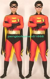 Barato Trajes De Super-heróis Vermelho Preto-Fantasia Superhero Suit Outfit New Red / Black Lycra Spandex Robin Suit Catsuit Costumes Com Double Cape Unisex Super Hero Robin Costumes P081