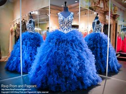 Discount petal bead caps - 2017 Royal Blue Pricness Quinceanera Dresses V-neck Backless Beaded Embroidery Backless Tiers Ruffle Skirt Sleeves Sweet