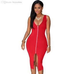 Robe Bleu Rouge Femme Blanche Pas Cher-Wholesale-S-4XL 2016 Sexy Dress Club Robes de soirée en taille grande Bodycon Sundress Package Hip Blue Red White Black