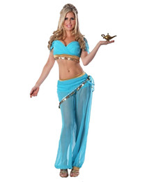 Barato Vestuário De Palco Sexy-Sexy Sky Blue Arabian Costume Mulher Belly Dancing Dress Carnival Halloween Indian Princess Cosplay Costume Stage Wear