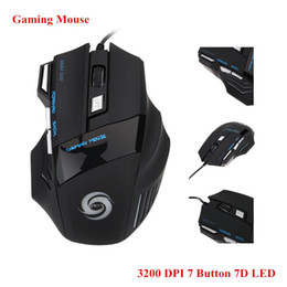 Mice Direct Canada - 2016 Factory direct sale New Arrivel Professional 3200 DPI 7 Buttons 7D LED Optical USB Wired Gaming Mouse Mice for Laptop PC