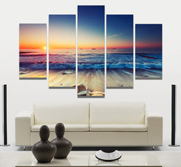 unframed canvas prints Australia - 5 Pieces Modern Wall Art Canvas Unframed Modular Sunrise Panel Print Painting Decorative Sunset Seascape Picture Home Decor