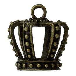"Discount crown charm pendant antique bronze - Charm Pendants Crown Antique Bronze 32mm(1 2 8"") x 30mm(1 1 8""),2 PCs findings new jewelry making DIY"