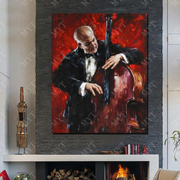 hand painted pictures Australia - Play Cello Wall Picture for Home Decor Hand made Picture on Wall Abstract Oil Painting on Canvas Hot Sale No Framed