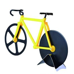 Bicycle Sales NZ - Hot Sale Bicycle Pizza Cutter Dual Stainless Steel Bike Pizza Cutter Wheel Yellow Wheels Cutters Cake Bread Round Knife Tools