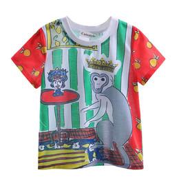 350bb50eeaecd4 Cutestyles 2016 Funny Boys T-shirts Multi Color Witn Green Stripe and Cute  Monkey Pattern Kids Tops BT90318-18L