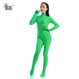 Femme Verte Pas Cher-Gros-The Crazy Ones Dark Green Zentai Bodysuit femmes Headless Turtleneck Unitard Dancewear Second Skin Full Body Collants Costumes