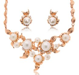 $enCountryForm.capitalKeyWord Canada - Fashion Pearl Wedding Jewelry Sets Hot Sales High-Grade Crystal Necklace Earrings Sets 5sets Min order Free Shipping 61152227