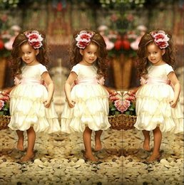 $enCountryForm.capitalKeyWord NZ - Ivory Cute Flower Girl Dresses For Wedding 2016 Crew Short Sleeve Pink Ribbon Sash Ruffles Girls Pageant Gowns Birthday Party Dresses