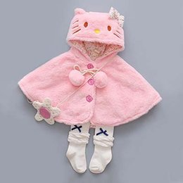 Manteau Doux Pour Bébés Pas Cher-Baby Hello Kitty Cloak Kids Baby Girl Vêtements Soft Fleece Cloak Coat Toddler Girls Clothing Cape For Winter Outerwear WG023