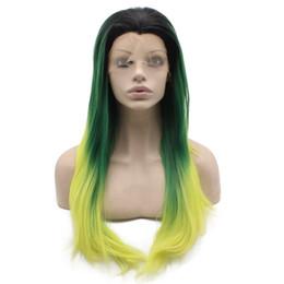 $enCountryForm.capitalKeyWord UK - Long Straight Dark Roots Ombre Green Yellow Swiss Lace Wig Halloween