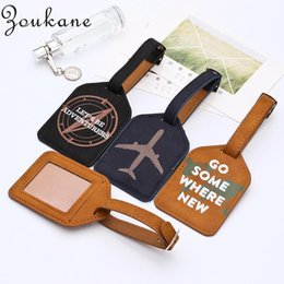 Chinese  Wholesale Zoukane Leather Trapezoid Luggage Tag Label Bag Pendant Handbag Travel Accessories Name ID Address Keychains LT02 manufacturers