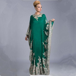Wholesale Appliques Arabic Kaftan Evening Dresses Arabic Abaya Dubai Elegant A Line Evening Dresses With Long Sleeves