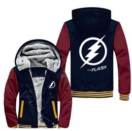 Barato Hoodies Encapuzados De Lã-New Winter Coats The Flash hoodie Anime Justice League Hooded Thick Zipper Sweatshirts brand hoodies lã Mantenha calmo Sportswear, Plus Size