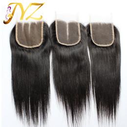 Опт Закрытие 100% человеческих волос бразильское закрытие шнурка волос 8-20inch прямое закрытие естественный цвет с отбеленными узлами