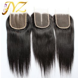 Dark black hair color online shopping - 100 Human Hair Closure Brazilian Hair Lace Closure inch Straight Closure Natural Color With Bleached Knots