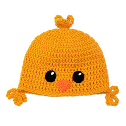 $enCountryForm.capitalKeyWord UK - Adorable Baby Chick Hat,Handmade Crochet Baby Boy Girl Animal Beanie,Child Earflap Winter Cap,Infant Newborn Photo Prop
