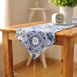 BZ378 Blue Cotton U0026 Linen Tea Table Runner Round Endless Pattern Printed  Home Hotel Table Cover Dust Proof Home Textile