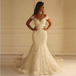 Barato Vestidos Novia Vestido De Renda-Mermaid Wedding Dresses Vestidos De Novia 2017 Sexy Off the Shoulders Lace Appliqued Elegant Wedding Gowns