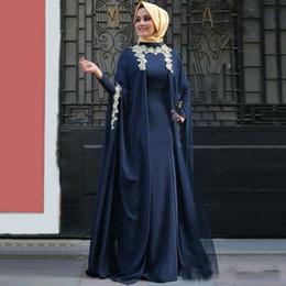 $enCountryForm.capitalKeyWord Australia - Navy Blue Sheath Long Chiffon Evening Dresses With Long Sleeves 2019 Newest Applique Cheap Muslim Formal Gowns With Hijab Custom Vestido
