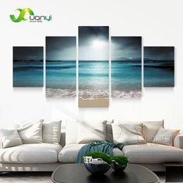$enCountryForm.capitalKeyWord NZ - 5 Panel Seascape Canvas Painting Sea Wave Beach Wall Art Cuadros Wall Picture For Living Room Modern Printing Unframed PR1268